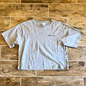 Champion   Spellout Made in USA Grey Cropped Tee